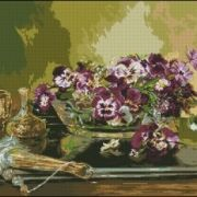 Goblenset 629 Stillife with pansies and fan